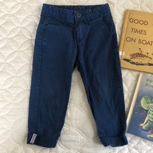 H&M blue pants with stripe cuff detail 2-3Y